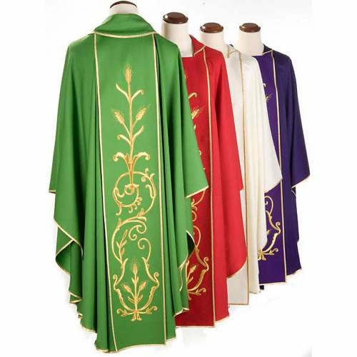 Liturgical vestment in wool with gold ears of wheat s2