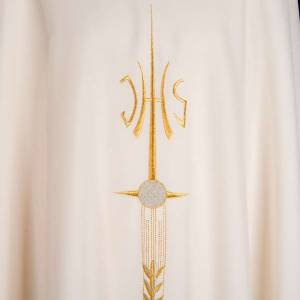 Liturgical vestment with IHS symbol, ears of wheat, chalice s5