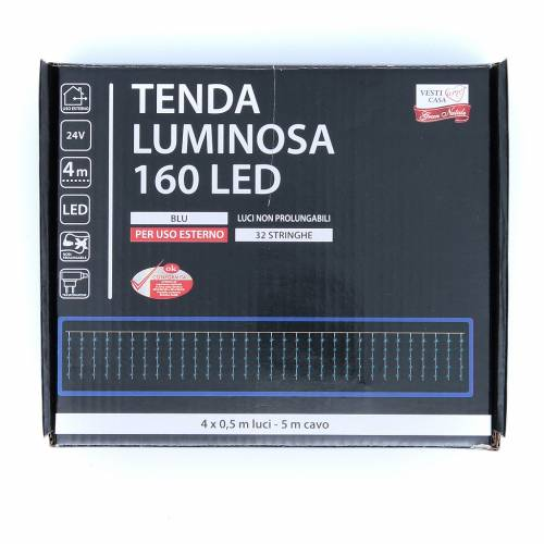 Luce di Natale tenda luminosa 160 led ESTERNO blu s3