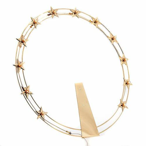 Luminous halo in gilded brass with bulbs, 40 cm dia s1