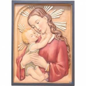 Various bas reliefs: Madonna and baby rectangular relief, coloured Valgardena wood