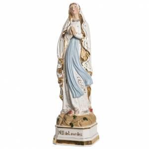 Madonna di Lourdes 50 cm ceramica decori oro s2