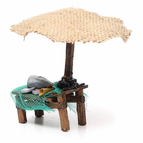 Magasin crèche avec parasol poisson et moules 16x10x12 cm s2