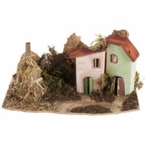 Maison décor crèche en bois avec grange s1