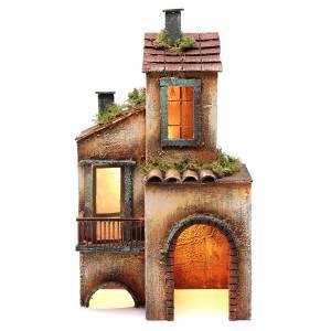 Crèche Napolitaine: Maison éclairée en bois pour crèche napolitaine 41x25x16 cm