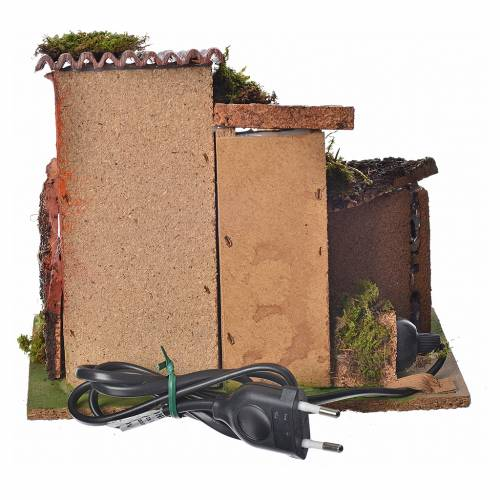 Maison en miniature pour crèche avec feu 17x20x15cm s3