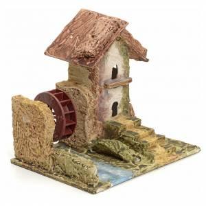Maison stucquée en miniature pour crèche avec moulin s2