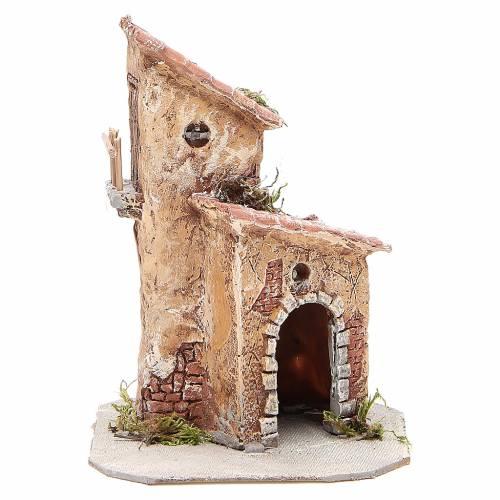 Maisonnette résine et bois crèche Naples 22x15x15 cm s1