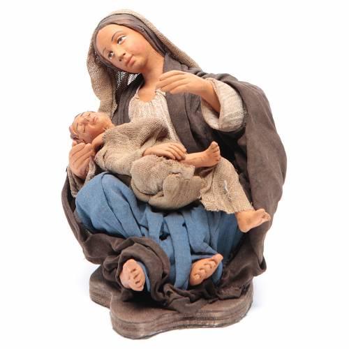 Mamma con bimbo seduta 30 cm movimento presepe Napoli s2