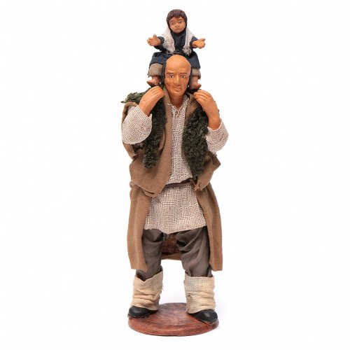 Man with child on his shoulder  nativity scene 14 cm s5