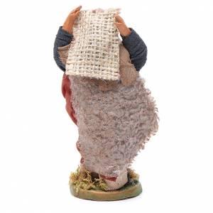 Man with jute sack, Neapolitan nativity figurine 10cm s4