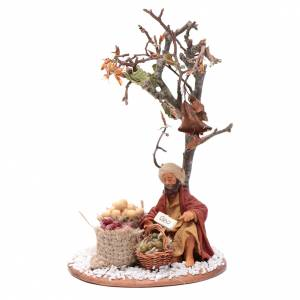 Man with seed sack and tree, Neapolitan nativity figurine 10cm s1