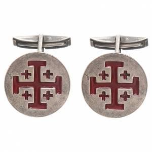 Manschettenknöpfe: Manschettenknöpfe Silber 800 Jerusalem Kreuz 1,9cm rot