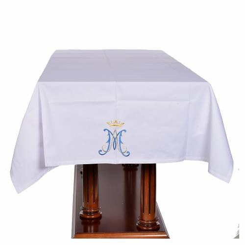 Mantel de altar símbolo mariano 45% algodón, 55% poliéster s4