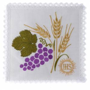 Altar linens: Mass linen set 100% linen wheat ears and raisin