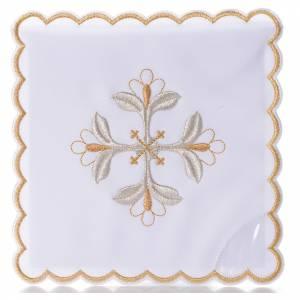 Altar linens: Mass linen set 4 pcs. floral cross gold silver