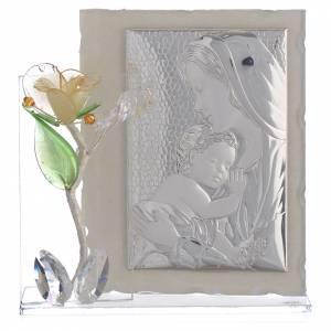 Quadro Maternità con rosa Ambra vetro Murano 8x12 cm s1
