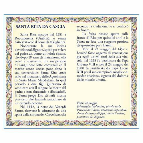 Medaglia Catenina Cartoncino Santa Rita da Cascia Preghiera ITA s2