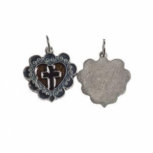 Medaglia Croce Cuore 17 mm galvanica argento antico smalto s1