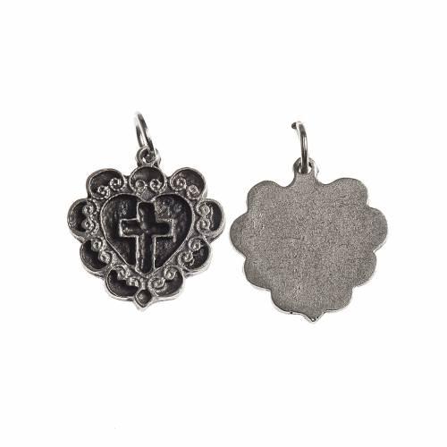 Medaglia Croce Cuore 17 mm galvanica argento antico s1