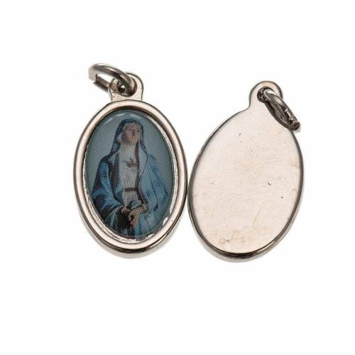 Medaglia Madonna Addolorata metallo argentato resina 1,5x1 cm s1