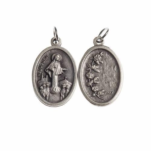 Medaglia Medjugorje ovale galvanica argento antico s1