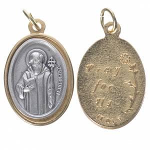 Medaglie: Medaglia S. Benedetto metallo dorata argentata 2,5cm