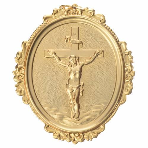 Medaglione per confraternite Croce con Cristo ottone s1