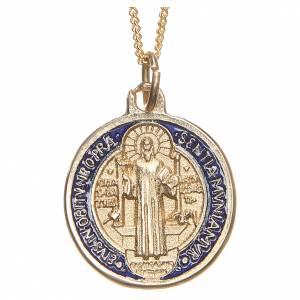 Sonstige Anhänger: Medaille Heiliger Benediktus vergoldeten Metall
