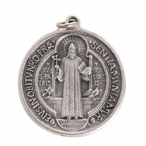 Médaille Saint Benoit métal argenté 3 cm s1