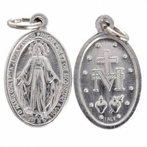 Medalla de la Virgen Milagrosa aluminio plateado 12mm s1