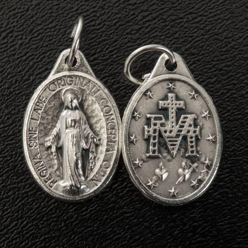 Medalla Milagrosa  forma oval metal plateado 17mm s2