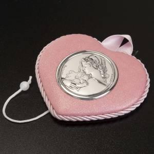 Medallas y decoraciones para cunas: Medalla para cuna rosado con carillón Virgen y el Nino