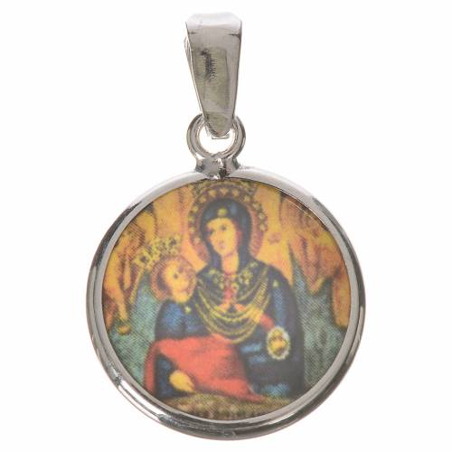 Medalla redonda de plata, 18mm Nuestra Señora del Divino Amor s1