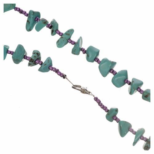 Medjugorje rosary beads in aqua green hard stones s2