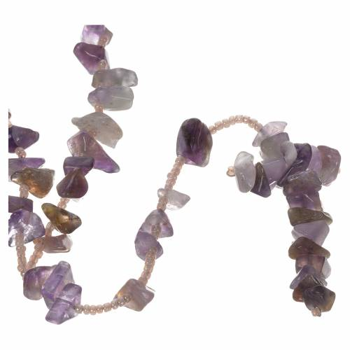 Medjugorje rosary beads in lilac hard stones s1