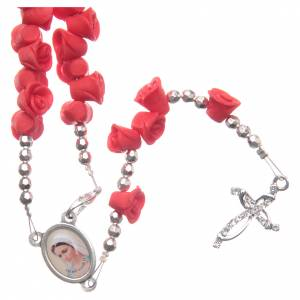 Rosaries and rosary holders: Medjugorje rosary beads with red roses with cross in rhinestones