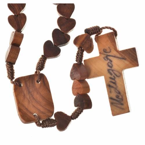 Medjugorje rosary, olive wood, heart grains s2