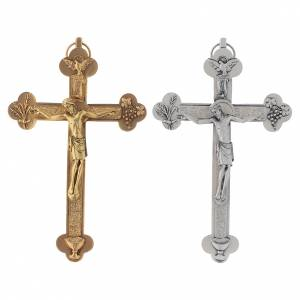 Metal crucifix, silver or gold, Holy Spirit with grapes chalice s1