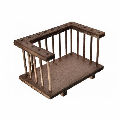Mini balcon en bois pour crèche, 7x3,5x4cm s2