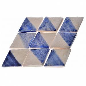 Mini-carreaux en losange blanc-bleu crèche 60 pcs terre cuite s1