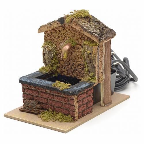 Mini fontaine toit en liège crèche 13x10x15cm s2