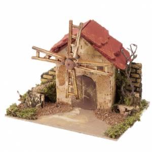 Moulins en miniature: Mini moulin à vent crèche Noel 20x14 cm