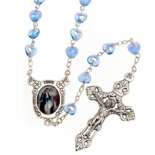 Miraculous Medal blue glass rosary s1