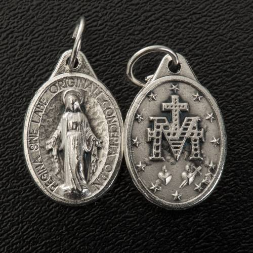 Miraculous Medal, oval in silver metal 17mm s2