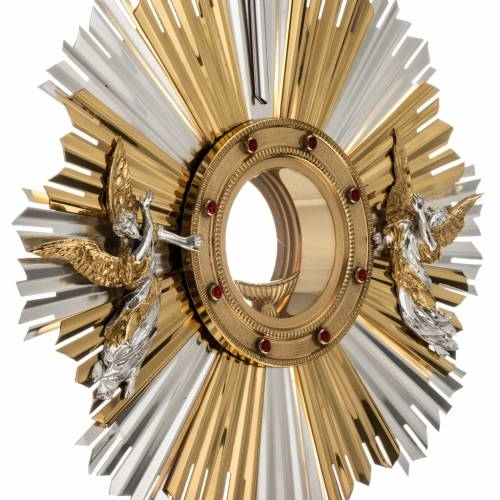 Monstrance for celebration host decorated with angels s4