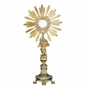 Monstrance in brass with Baroque style base and angel s1