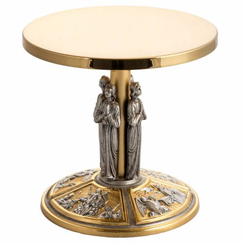 Monstrance throne in brass with images on foot s1