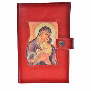Morning and Evening Prayer cover red leather with Our Lady of Tenderness s1