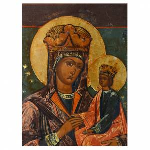 Ancient Russian icons: Mother of God the Surety of Sinners antique icon 30x25cm mid 1800